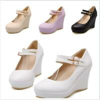 Strappy Shoes Women's Round Toe High Wedge Heels Pumps Ankle Buckle Platform Hot