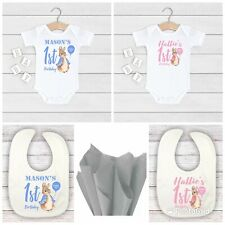 💕💙 Personalised Peter rabbit 1st BIRTHDAY baby boy girl bib vest gift wrapped