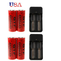 4x 3.7V 26650 8800mAh Li-ion Rechargeable Battery Flashlight Torch + 2x Charger!
