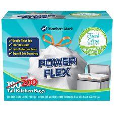 200 Trash Bags Garbage 13 Gallon Tie Drawstring Tall Kitchen  Fresh Clean **