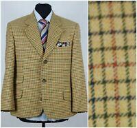 Mens WESTBURY UK 42S Vintage Check Beige Wool Tweed Sport Coat Blazer Jacket