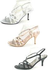 Ladies Spot on Mid Heel Sling Back Sandal F1715 Black UK 4 Standard