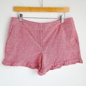 "Ann Taylor LOFT 4"" Shorts Womens 6 Linen Blend Ruffle Hem Chambray Color"