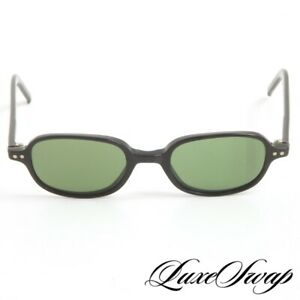 Vintage 2000s Y2K J. Crew Made in Japan Black Green Lens Small Lens Sunglasses