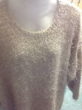Woman's Beige Size M Round Neck Long Haired Jumper