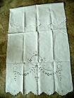 hübsches altes Jugendstil-Baumwoll-Überhandtuch, Weiß, 60 x 120 cm