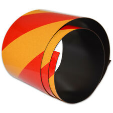 FLURO Magnetic Reflective Tape 1M x 50mm x 0.8mm Hi-Vis Red and Yellow Stripe
