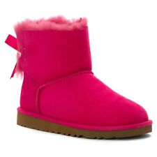 Authentic Ugg New Mini Bailey Bow Boots Kids' Sz 6 (Approx Women 7) Cerise Pink