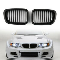 Front Fence Grill Grille ABS Black Mesh For BMW E46 4D 1998-2001 3 Series T05