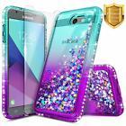 For Samsung Galaxy J7V/J7 Prime/Sky Pro Case Liquid Glitter Cover+Tempered Glass