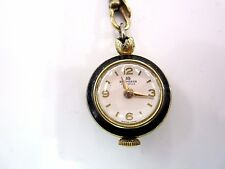 Unique Bucherer 17 Jewel Swiss Enamel Rotating Eyeball Watch Pendant Necklace