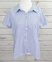 St. John's Bay Top Womens XL Blue Striped Button Short Sleeve Collared Cotton