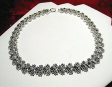 JJ JUDITH JACK 925 STERLING SILVER SQUARE LINK MARCASITE HEAVY NECKLACE 16.5""