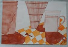 Watercolor Art 100% Hand Painted 'In the Kitchen' by L. Pedroso