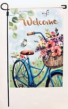 """New listing ✨New✨Spring Welcome Flowers Bicycle Garden Flag 12"""" x 18"""" Bike"""