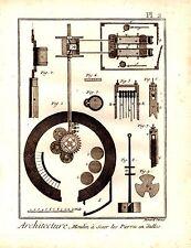 GRAVURE 18ème d' EPOQUE ARCHITECTURE MOULIN A SCIER PIERRES EN DALLES PLANCHE 2
