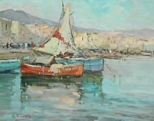 Beautiful Signed Oil On Board of a Coastal Mediterranean Scene With Boats