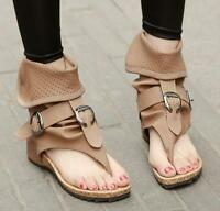 Gladiator Womens Ankle Summer Boots T-Strap Flat Sandals Flip Flops Fashion Shoe