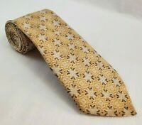 WEMLON by WEMBLEY Abstract Brown Gold Floral  Polyester Neck Tie -TIES DESIGNER