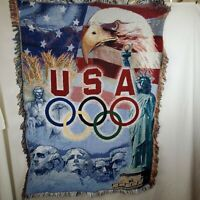 2004 Olympics USA Landmarks Throw Blanket Tapestry American Patriotic AOHNA