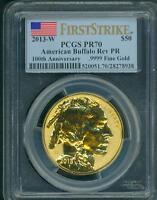 2013-W $50 GOLD BUFFALO REVERSE PROOF PCGS PR70 PF70 FIRST STRIKE Flag Label
