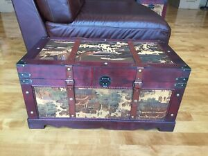 Ancient City Wood Storage Trunk Wooden Hope Chest - Medium Size