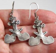 Estate Vintage Unique Sterling Silver Seed Pod Pierced Dangle 2 Inch Earrings