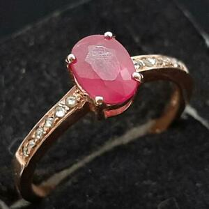 Genuine .95ctw Mozambique Ruby & H-SI Diamond 14K Rose Gold 925 Silver Ring