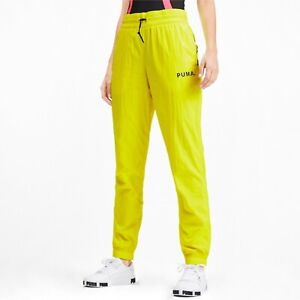 Puma Womens Chase Woven Pant Yellow Alert Solid Hot Active Wear 595494-21