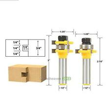 2PCS Pro Tongue and Groove Router Bit Set 1/4 x 1/4 - 1/2 Shank woodworking Tool