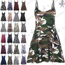 Womens Swing Dress Cami Strappy Ladies Print Flared Vest Mini Top Plus Size 8-26