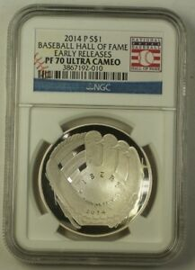 2014 Baseball Hall of Fame Silver Dollar $1 Early Release PR-70 Ultra Cameo