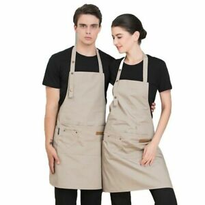 Men Work Apron Kitchen Pinafore Cafe Restaurant Workwear Bib Dress with Pocket