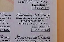 RA 1 ex étiquette Miniatures du Château Porsche 911 RSR Le Mans 1973 Heco