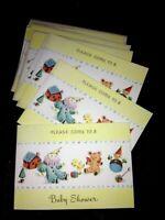 Lot of 10 Vintage Baby Shower Invitations NO Envelopes