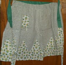 Vintage FeedSack APRON Quilt Fabric DAINTY Pink Green FLOWERS Yellow BUTTERFLIES