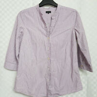 Ladies JAEGER Button-Down Shirt Size 12 Purple White Striped Cotton Long Sleeve