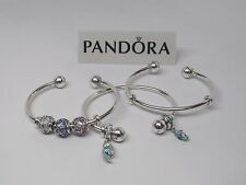 New Pandora Adjustable Silver Open Bangle Bracelet w/Silicone Grips  #596477