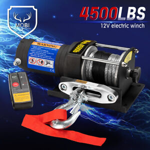 MOBI 4500LBS / 2041KGS Wireless Electric Winch 12V ATV 4WD Boat Synthetic Rope