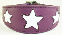 Leather Saluki Afghan Dog Collar Purple With White Star Greyhound Whippet Collar