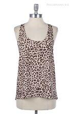 Leopard Print Half Zippered Racer Back Tank Sleeveless Top High Low Hem Casual