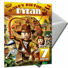 INDIANA JONES LEGO - PERSONALISED  Birthday Card Large A5 + Envelope