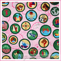 BonEful Fabric FQ Cotton Quilt VTG Pink Green Girl Scout Club Badge Cookie Brown