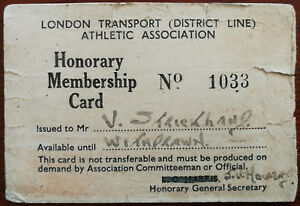 London Transport (District Line) Athletic Association Honorary Membership Card