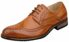 Mens Tan Brown Lace Up Formal Oxford Brogue Fashion Shoes UK Size 9