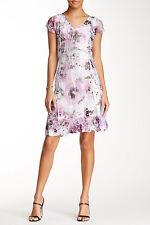 KOMAROV Floral Print V-Neck Lace Sleeve Dress Women's Size XL