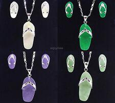 Green Purple Jade White Shell 18KWGP Shoes Pendant Necklace Earrings Jewelry Set
