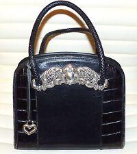 Brighton Women's brown Croco Leather Tote handBag purse,silver details, $385