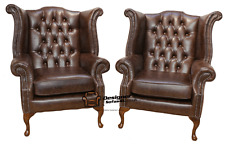 2 x Chesterfield Queen Anne High Back Wing Chairs Old English Brown Leather