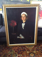 """Oil Painting 30x42 Lady with White Turban Portrait """"Mary Kelly""""  Paul C. Burns"""